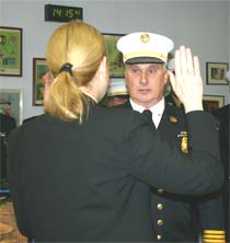 Christopher Ackley sworn in by Diane Farrell as Westport CT Fire Chief