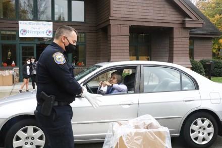 Westport Police Dept. hosts DEA annual prescription drug take back day, Oct. 24, 2020, Phil Restieri, Judy Hardy