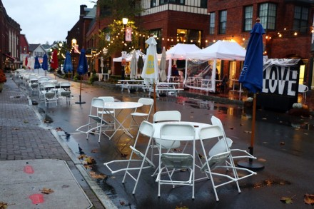 Outdoor dining a washout on Church Lane in Westport, CT, Oct. 29, 2020, by Dave Matlow