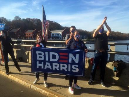 Westporters celebrate the Biden-Harris victory, Nov. 7, 2020, by J.C. Martin