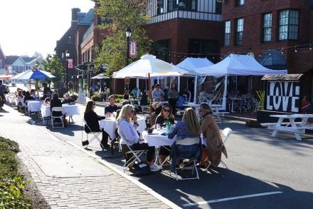 Outdoor dining on Church Lane, Westport CT Nov. 6, 2020, Dave Matlow