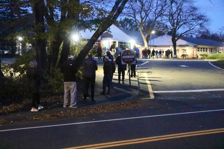 Long line before the polls opened at Coleytown Elementary in Westport, CT Nov. 3, 2020, by Dave Matlow