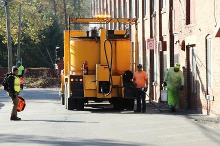 Westport CT roadway crack seal program underway on Richmondville Ave. Nov. 4, 2020, Dave Matlow