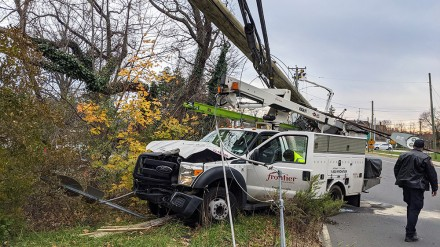 Frontier truck and car collide, break utility pole, cause fire, Saugatuck Ave., Westport CT 11-25-2020