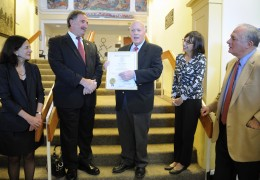 Paying tribute to outgoing First Selectman Gordon Joseloff, Nov. 13, 2013, photo by Helen Klisser During