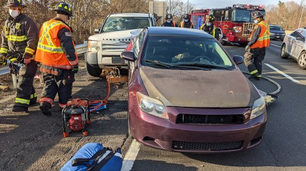 Person trapped under vehicle in I-95 crash Saturday morning, 11-28-2020, Westport Fire Department