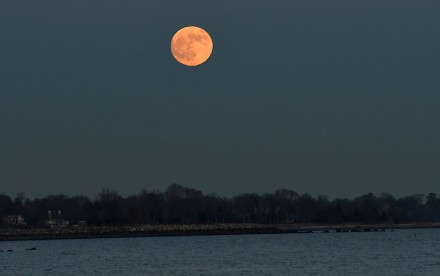 Full moon over Compo Beach in Westport, CT, Nov. 29, 2020, by J.C. Martin