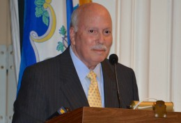 Gordon Joseloff, Nov. 19,2013 when turning over the reins as First Selectman to his successor James Marpe. B