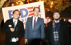 Will Haskell, Jim Himes, Jonathan Steinberg on Nov. 3, 2020, by Dave Matlow