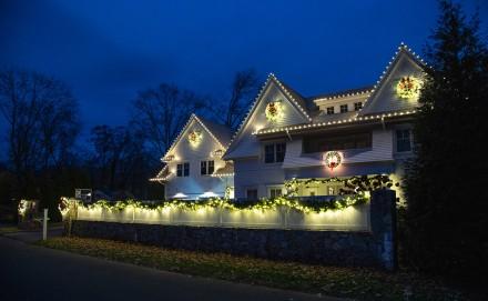 Christmas lights on the house at 4 Caccamo Lane, Westport, CT, 11-20-2020, by Jaime Bairaktaris