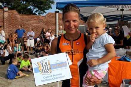 Florence Chretien, female winner of the Westport Kiwanis Triathalon