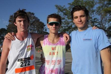 Gage Holzhauer of Ridgefield and Staples High School seniors Jake Troelstra and North Woods, Westport Kiwanis Triathlon