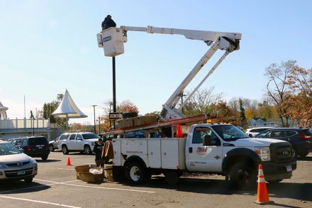 Westport, CT Library parking lot lights are upgraded to LED lighting, Nov. 5, 2020, by Dave Matlow