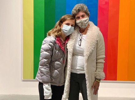 Westport, CT Selectwoman Jennifer Tooker with daughter Nicole visiting MoCA Nov. 3, 2020, by Andrea Pouliot