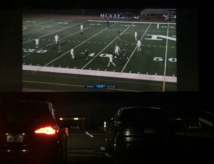 Westport v Norwalk boys soccer livestreamed at Remarkable Theater Drive-In, Oct. 28, 2020, photo by Neil Brickley