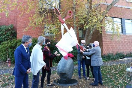 Ribbon-cutting, Rock, Paper, Scissors sculpture donation, Westport, CT Nov. 8, 2020