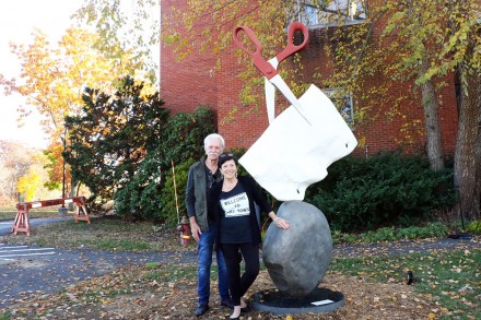Bill Scheffler and Ann Sheffer; Rock, Paper, Scissors sculpture by Kevin Fox, donated to Westport (CT) Public Art Collection, photo by Dave Matlow