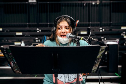 Sophia Betit (SHS '23) in a recording session for The Wizard of Oz, in which she plays a Munchkin. Staples High School, Westport CT