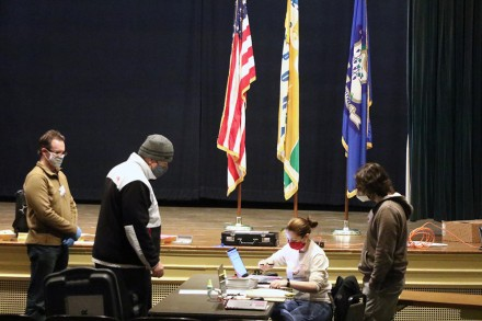 Election Day voter registration at Westport CT Town Hall, Nov. 3, 2020, by Dave Matlow
