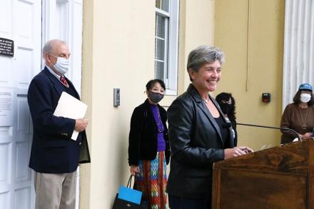 UN 75th Anniversary Celebration, Westport CT, Selectwoman Jennifer Tooker, Bill Hass, Aye Aye Thant, Oct. 24, 2020, by Dave Matlow
