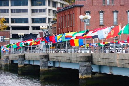 United Nations flags on the Ruth Steinkraus Cohen Bridge. The world flags were placed to celebrate the 75th anniversary of the UN. Oct. 24, 2020. by Dave Matlow.