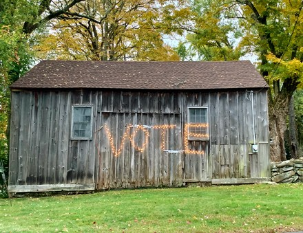 Vote in lights on barn in Westport, CT by Lynn Miller