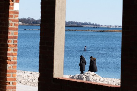 Bundled up for a walk, and also swimming, at Compo Beach, Westport, CT, Nov. 24, 2020, by Jaime Bairaktaris
