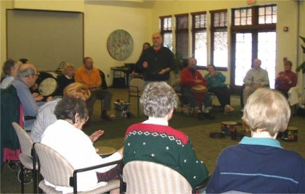 drumming circle at the Westport Center for Senior Activities